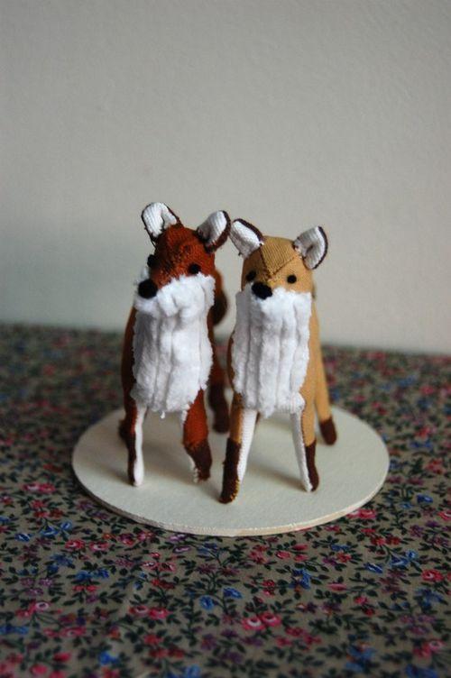 Fox wedding cake topper
