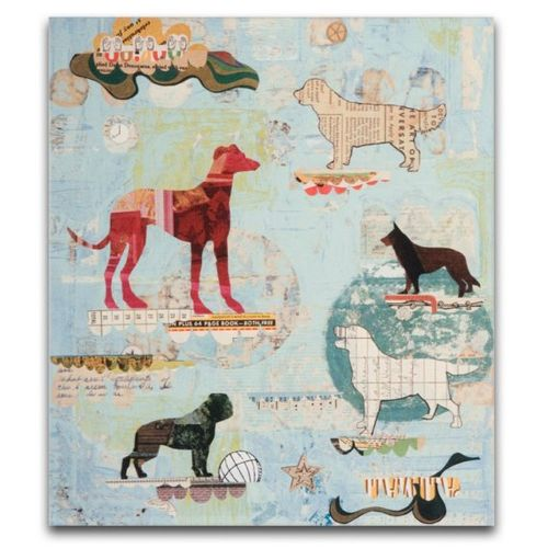 Dog show box print on wood